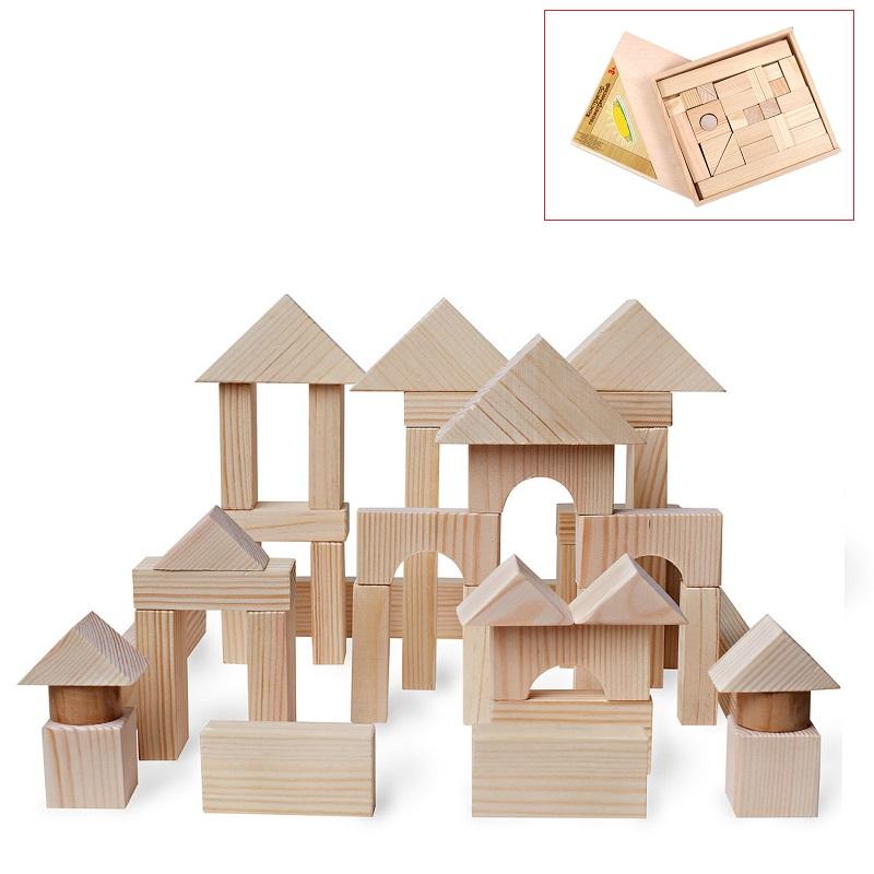 Купить Деревянный конструктор, 51 деталь, неокрашенный, в деревянном ящике, Paremo