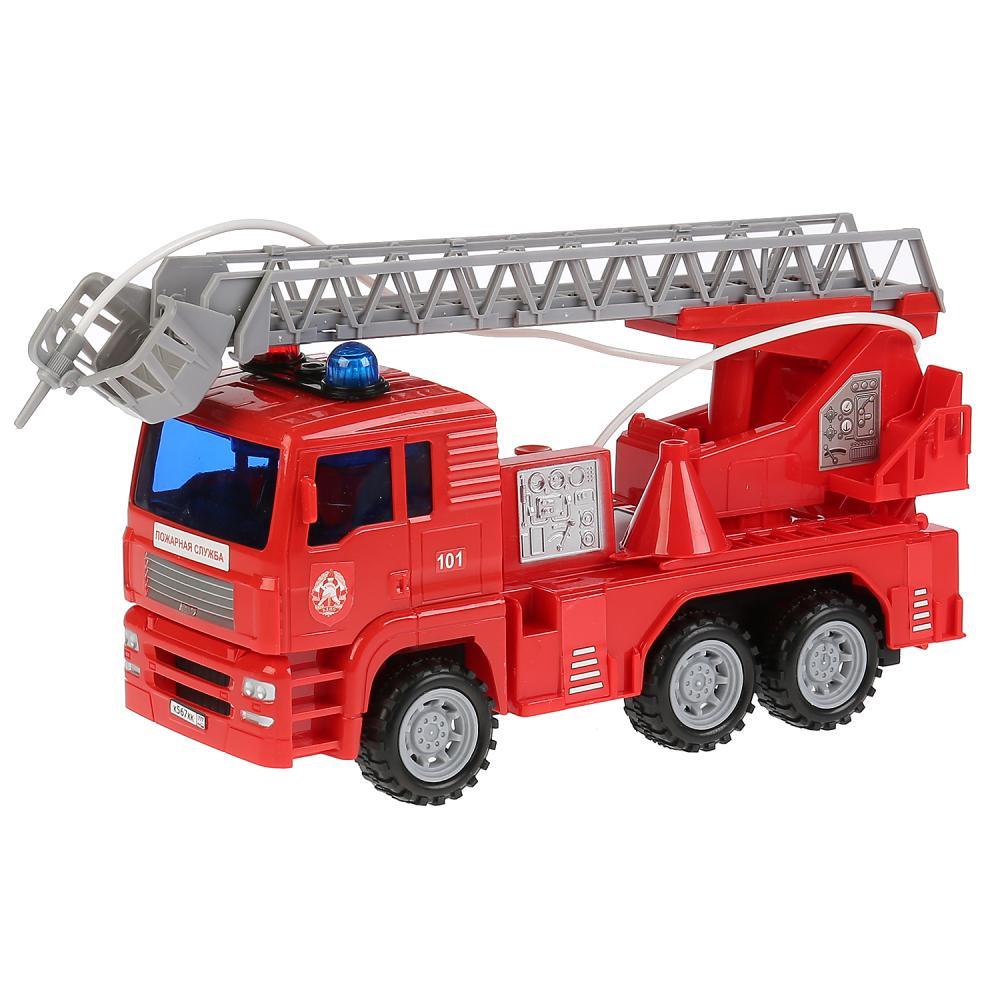 Машина – Пожарная, длина 24 см., пластик, инерционная, свет и звук, брызгает водой Технопарк
