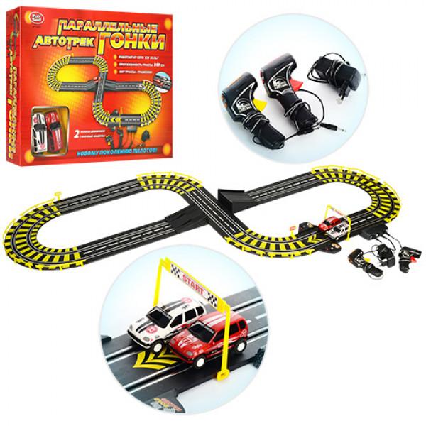 Гоночный трек от сети 220V с 2 спортивными машинками - Параллельные гонки, 369 см
