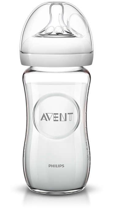 Стеклянная бутылочка для кормления, серия Natural, 240 млТовары для кормления<br>Стеклянная бутылочка для кормления, серия Natural, 240 мл<br>