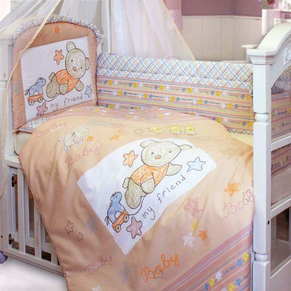 Комплект в кроватку – Zoo Bear, 7 предметов, бежевыйДетское постельное белье<br>Комплект в кроватку – Zoo Bear, 7 предметов, бежевый<br>