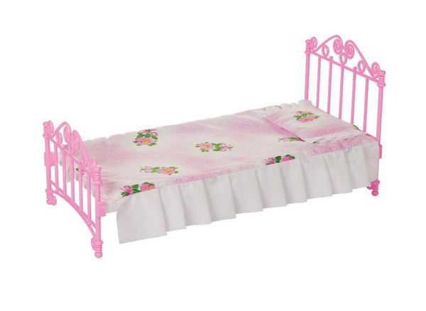Кроватка с постельным бельем, розовая