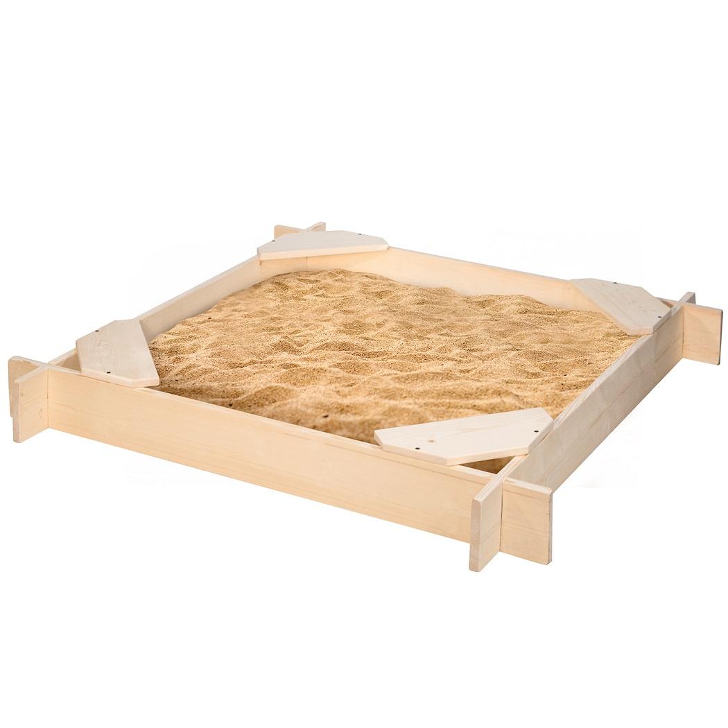 Деревянная песочница Атлант, 4 сиденья, пропитка фото