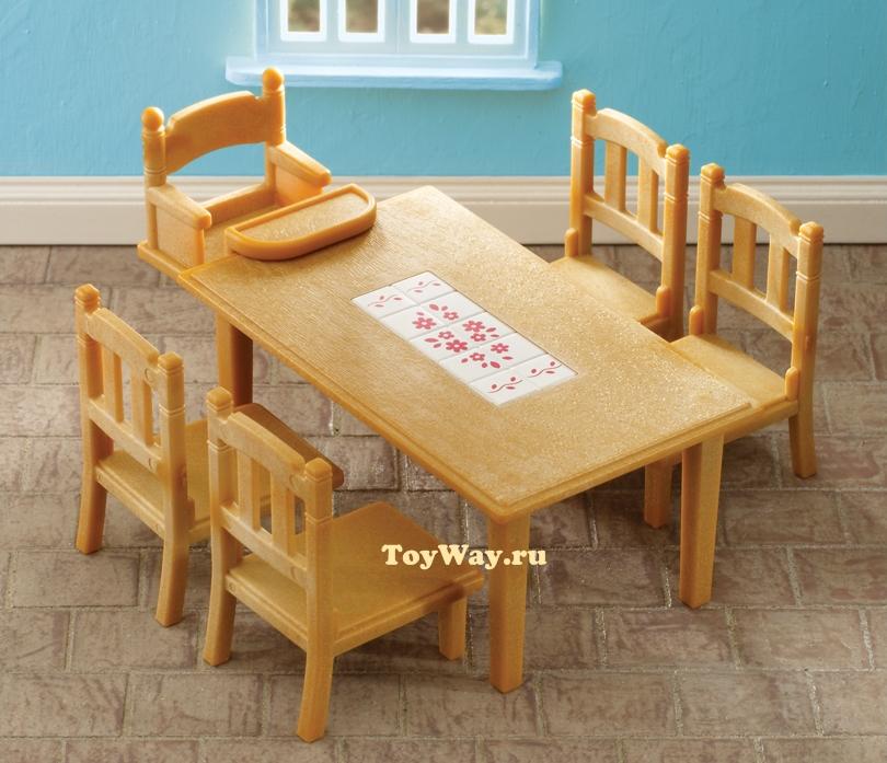 Sylvanian Families - Набор Обеденный стол с 5-ю стульямиМебель<br>Sylvanian Families - Набор Обеденный стол с 5-ю стульями<br>