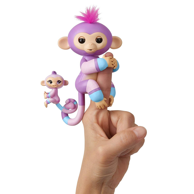 Купить Интерактивная обезьянка Fingerlings – Вайолет с малышом, 12 см, звук, WowWee