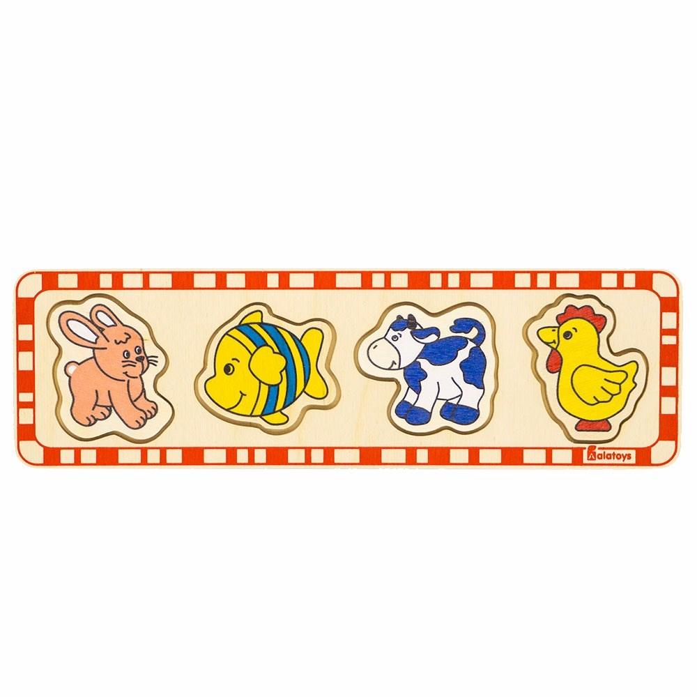 Деревянный пазл: заяц, рыба, корова, петухРамки и паззлы<br>Деревянный пазл: заяц, рыба, корова, петух<br>