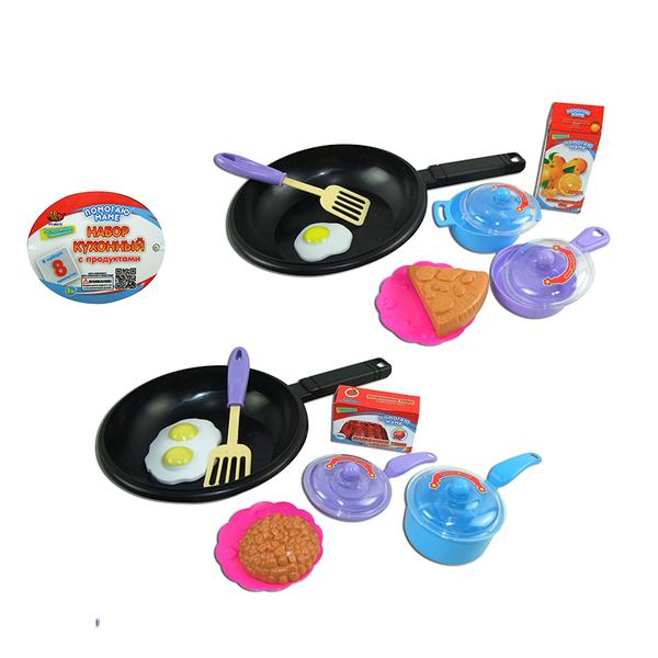 Помогаю Маме. Набор посуды для кухни с продуктами, 8 предметовАксессуары и техника для детской кухни<br>Помогаю Маме. Набор посуды для кухни с продуктами, 8 предметов<br>
