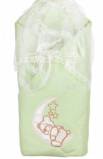 Комплект на выписку  Мишка на Луне, Н1981, весна, зеленый - Конверты, комплекты на выписку, артикул: 171307