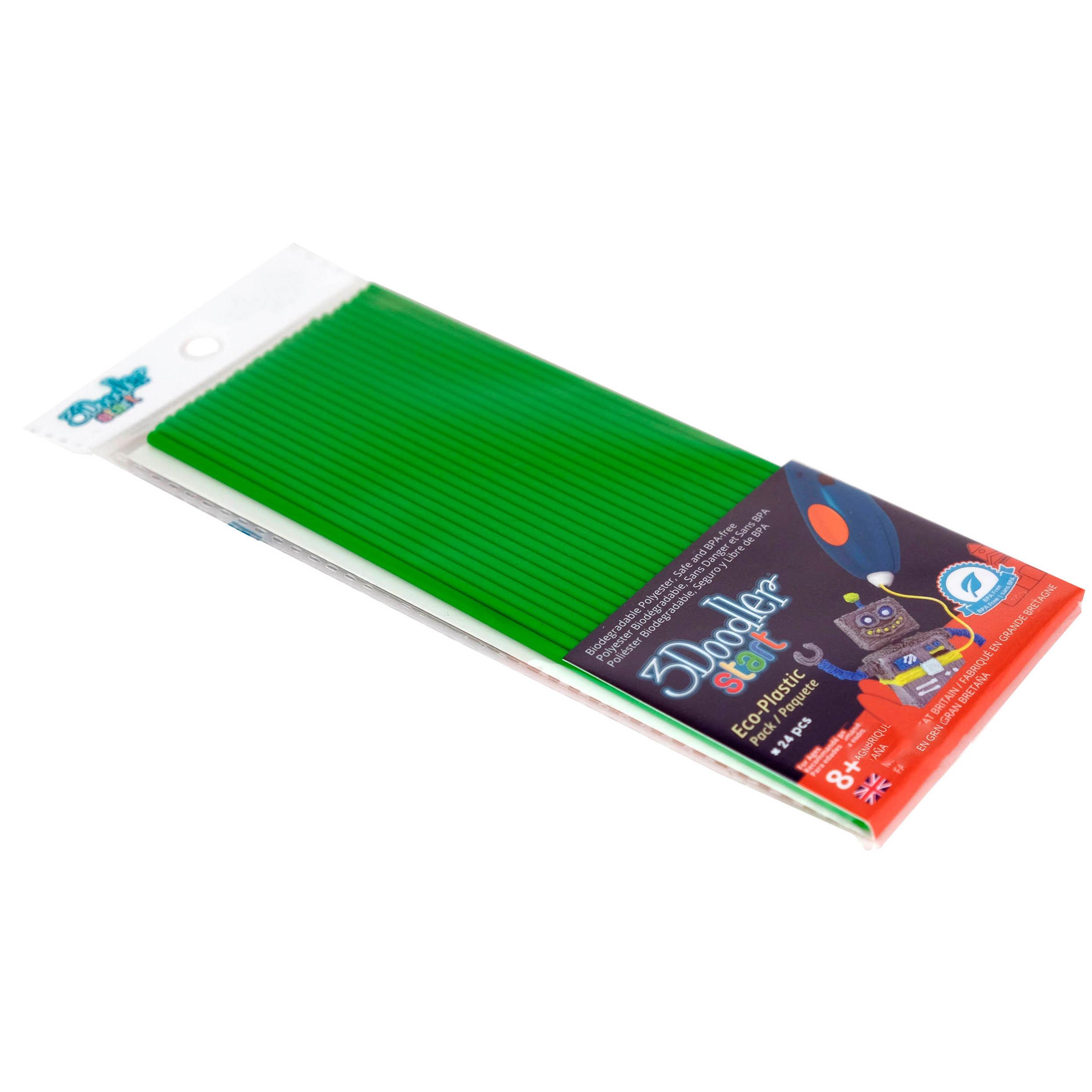 Эко-пластик к 3Д ручке 3doodler Start, цвет зеленый, 24 шт.3D ручки<br>Эко-пластик к 3Д ручке 3doodler Start, цвет зеленый, 24 шт.<br>