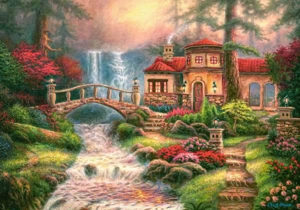 Пазл Castorland 500 деталей, Дом у водопадаПазлы<br>Пазл Castorland 500 деталей, Дом у водопада<br>