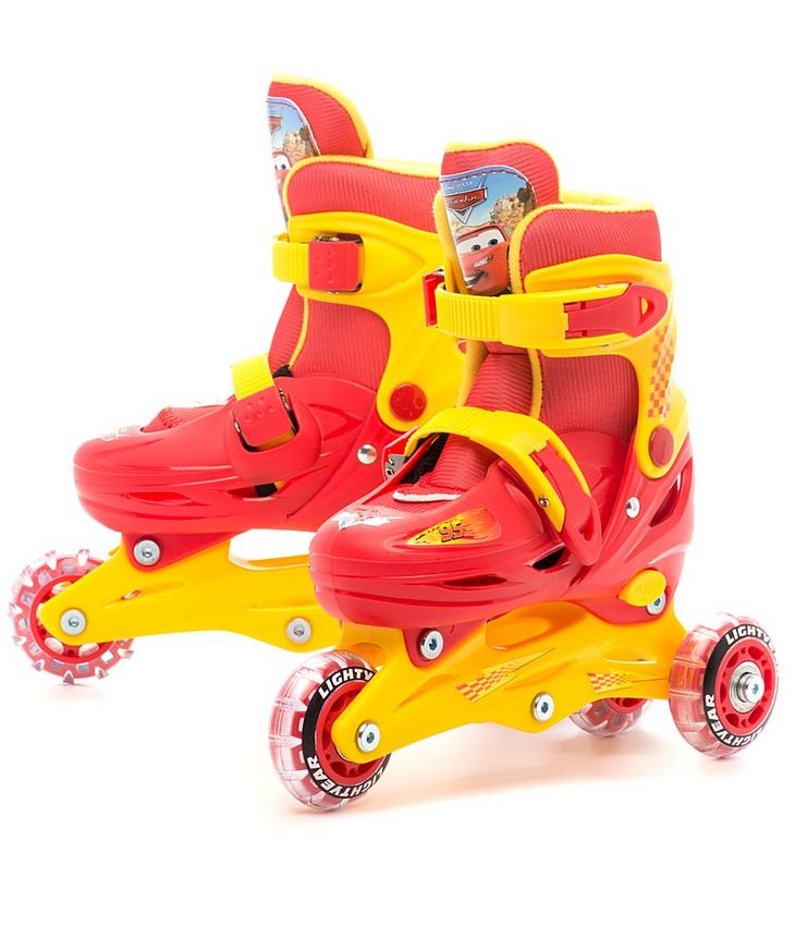 Ролики раздвижные Disney «Тачки» с мягким ботинком, размер 30-33 sim) - Роликовые коньки детские, артикул: 134501