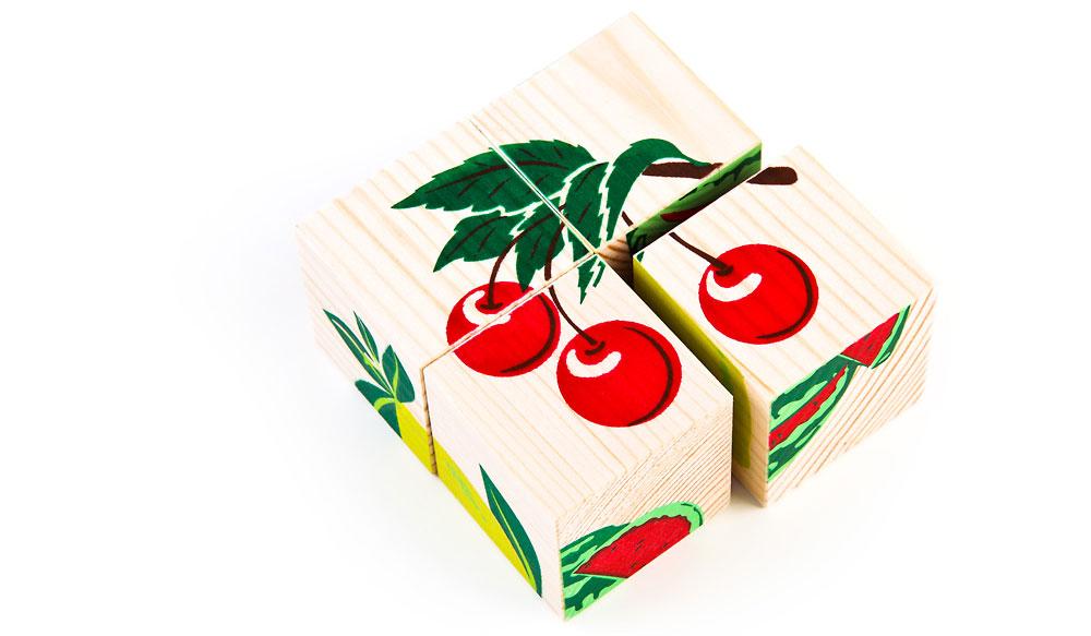 Набор из 4-х кубиков - Фрукты ягоды из серии Собери картинку