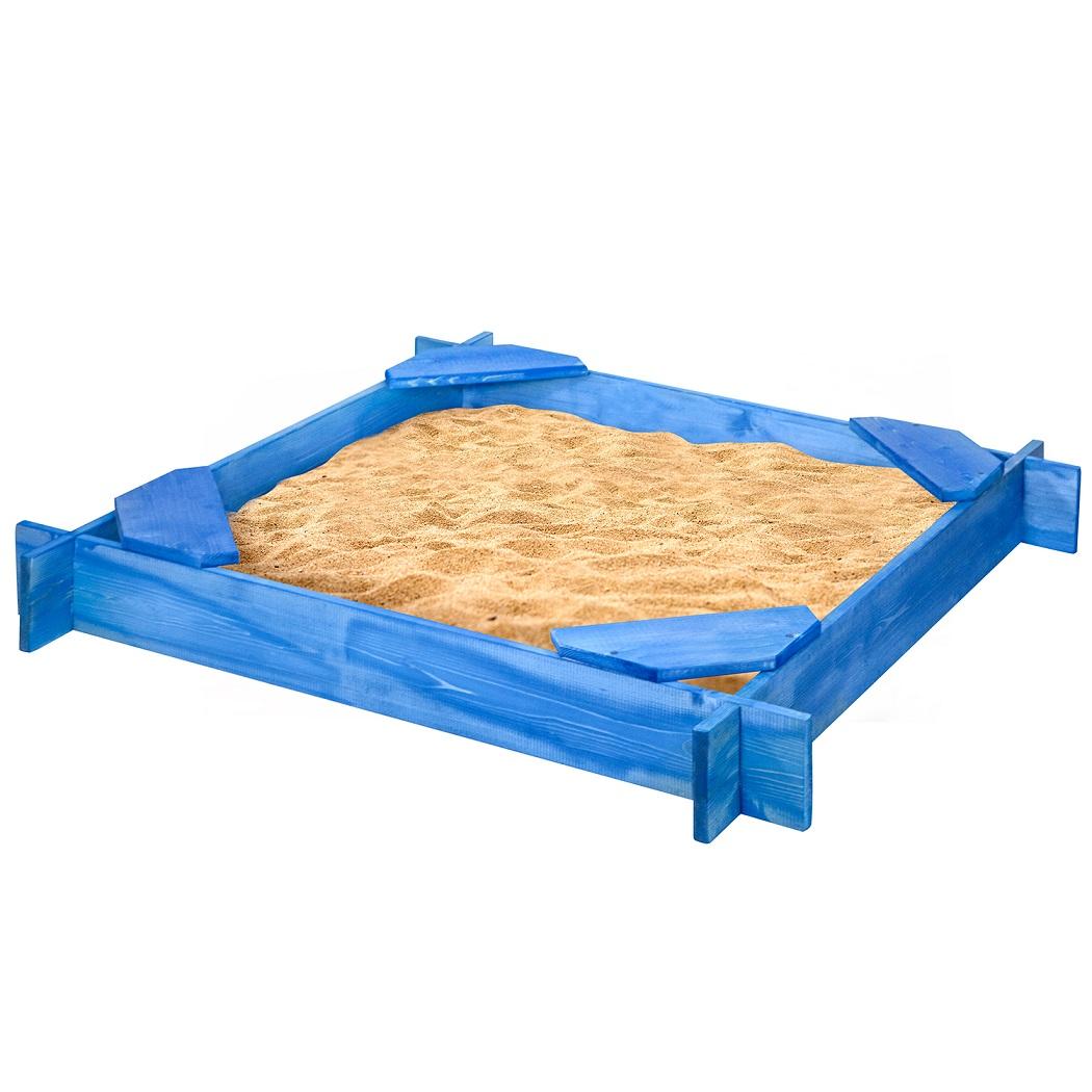 Деревянная песочница Тритон 4 сиденья, пропитка, цвет синий фото