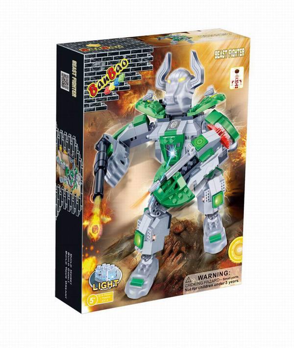 Конструктор – Электромеханический робот, зеленый, 215 деталей, со световыми эффектамиКонструкторы BANBAO<br>Конструктор – Электромеханический робот, зеленый, 215 деталей, со световыми эффектами<br>