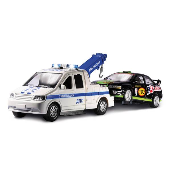 Машина металлическая инерционная - эвакуатор ДПС с машинкой со светом и звукомПолицейские машины<br>Машина металлическая инерционная - эвакуатор ДПС с машинкой со светом и звуком<br>