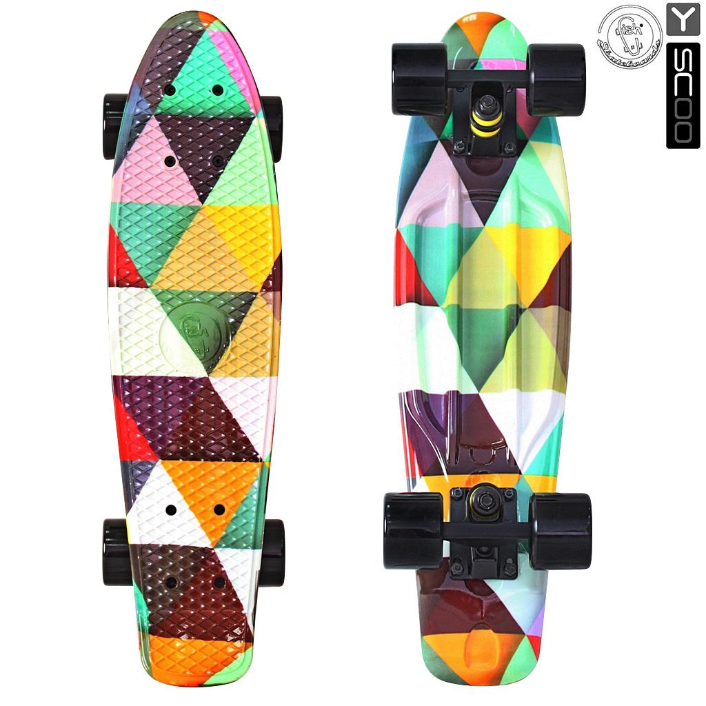 Скейтборд виниловый Y-Scoo Fishskateboard Print 22  401G-T с сумкой, дизайн Треугольники - Детские скейтборды, артикул: 153168
