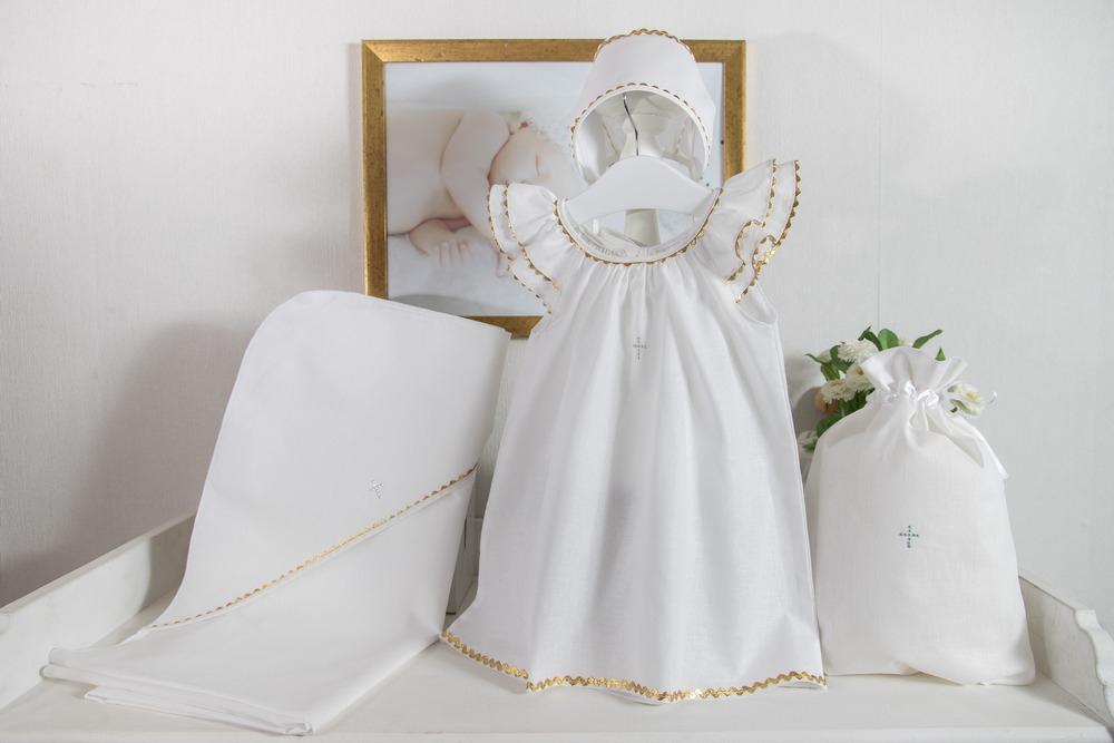 Крестильный набор для девочки Пелагея 4 предмета, цвет: белый-золото, от 6 до 12 мес. от Toyway