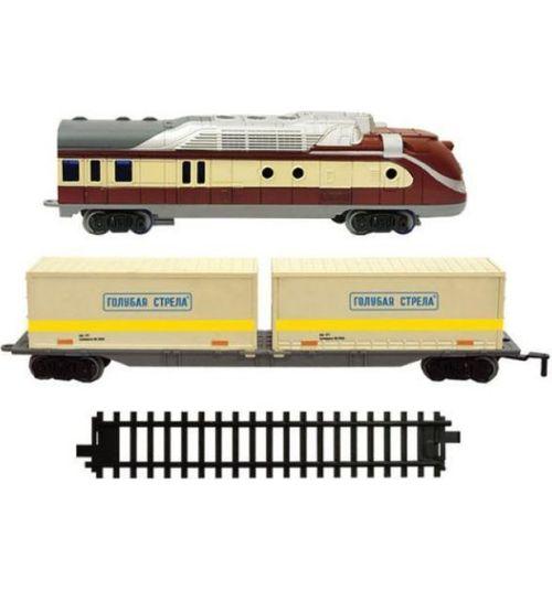 Купить Железная дорога Голубая стрела, тепловоз, контейнерная платформа