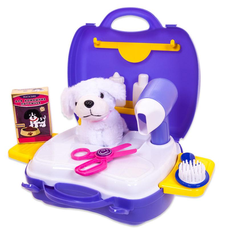 Набор для ухода за домашним питомцем  Чудо-чемоданчик, с собачкой, 16 предметов - Юная модница, салон красоты, артикул: 151493