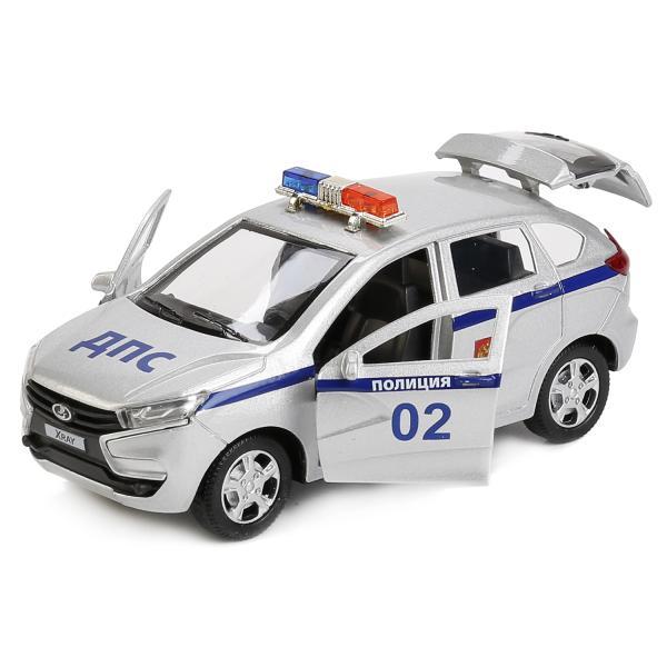 Купить Металлическая инерционная машина – LADA XRAY Полиция, 12 см, открывающиеся двери и багажник, Технопарк