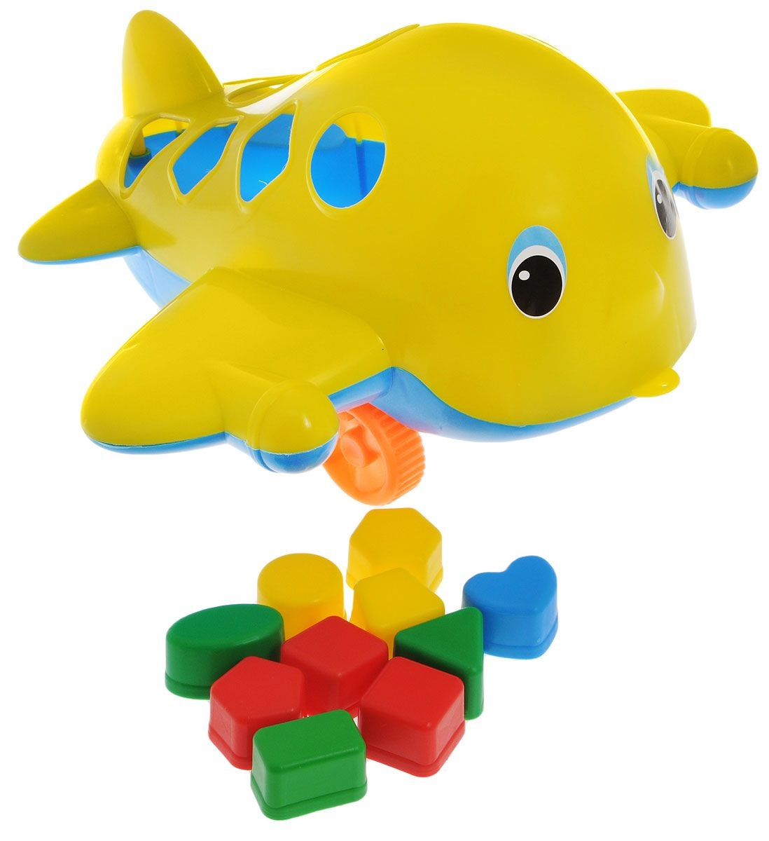 Каталка сортер - самолет Кит с логическими фигурамиСортеры, пирамидки<br>Каталка сортер - самолет Кит с логическими фигурами<br>