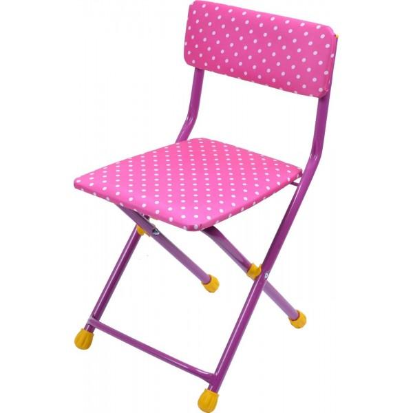 Купить Стул детский складной мягкий из моющейся ткани, розовый в горошек, Ника