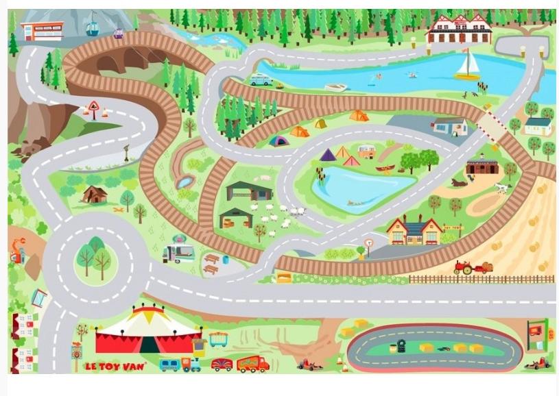 Игровой коврик – Автодорога кантри, 80 х 120Детские парковки и гаражи<br>Игровой коврик – Автодорога кантри, 80 х 120<br>