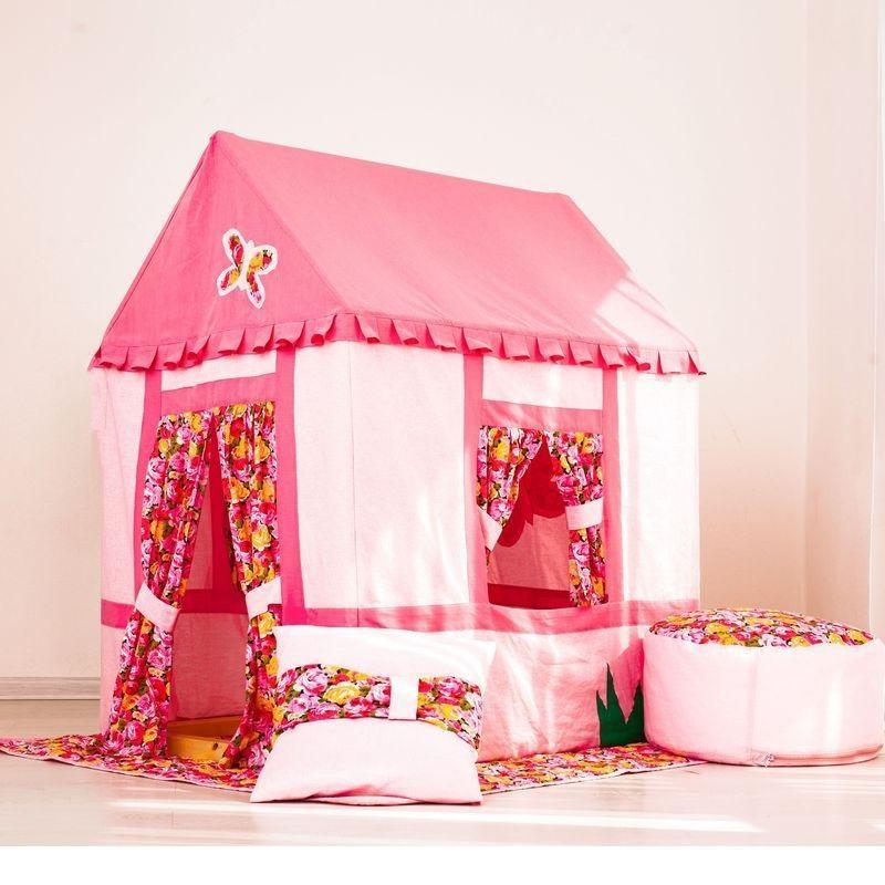 Текстильный домик-палатка с пуфиком для девочек - Дворец МирабельДомики-палатки<br>Текстильный домик-палатка с пуфиком для девочек - Дворец Мирабель<br>