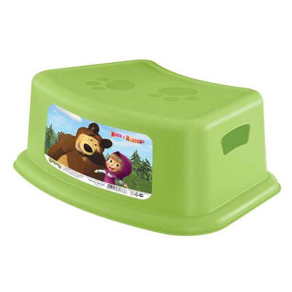Подставка детская - Маша и Медведь, цвет зеленыйГоршки и сиденья для унитаза<br>Подставка детская - Маша и Медведь, цвет зеленый<br>