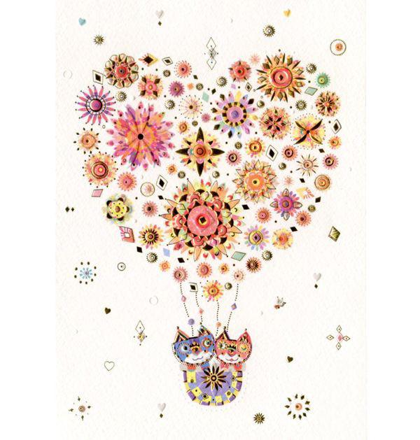 Купить Открытка - Воздушный шар-сердце с котами, Turnowsky