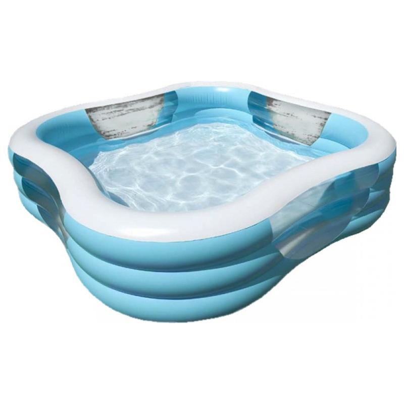 Бассейн надувной - Волны, 3 кольца, синийДетские надувные бассейны<br>Бассейн надувной - Волны, 3 кольца, синий<br>