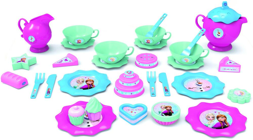 Большой игровой набор посуды для чая - Холодное сердце, 32 предметаАксессуары и техника для детской кухни<br>Большой игровой набор посуды для чая - Холодное сердце, 32 предмета<br>
