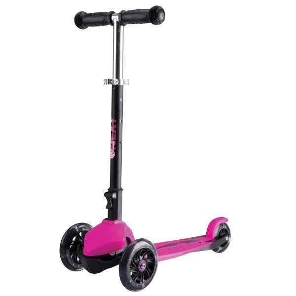 Трехколесный складной самокат, светящиеся колеса 12 и 9 см, черно-розовый
