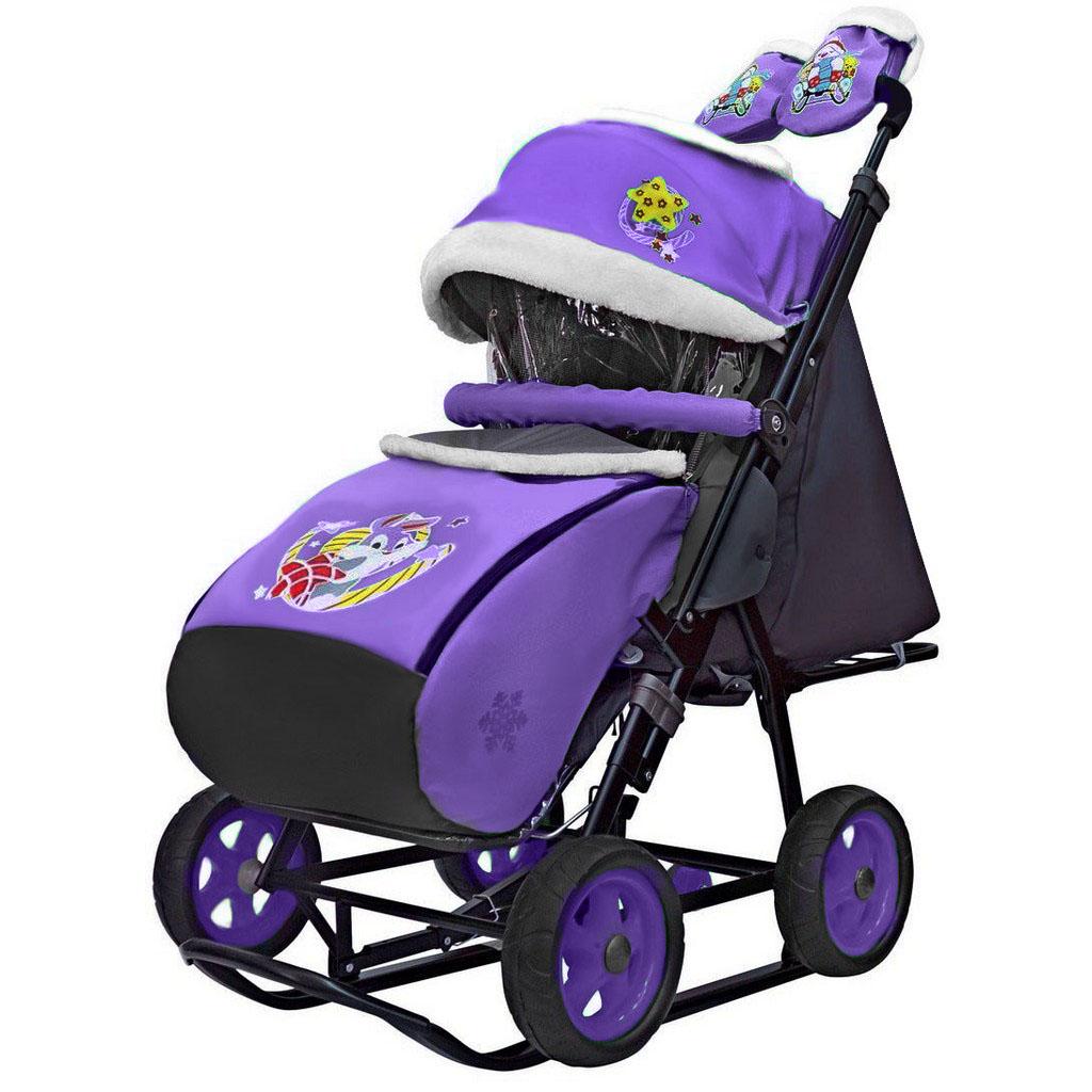 Санки-коляска Snow Galaxy - City-1 - Серый Зайка, цвет фиолетовый, на больших колесах Ева, сумка, варежки