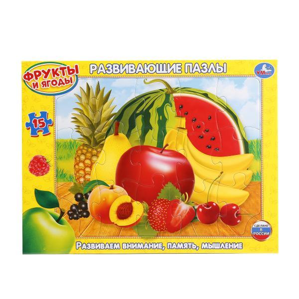 Развивающие пазлы в рамке - Фрукты и ягоды, 15 деталейПазлы для малышей<br>Развивающие пазлы в рамке - Фрукты и ягоды, 15 деталей<br>
