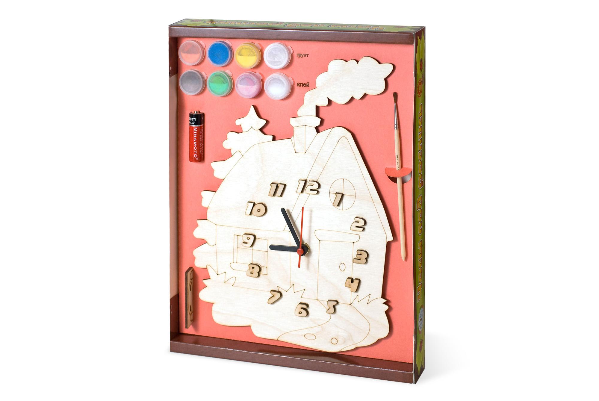 Часы с циферблатом под роспись – Домик, с краскамиЛаковая миниатюра и роспись по дереву<br>Часы с циферблатом под роспись – Домик, с красками<br>