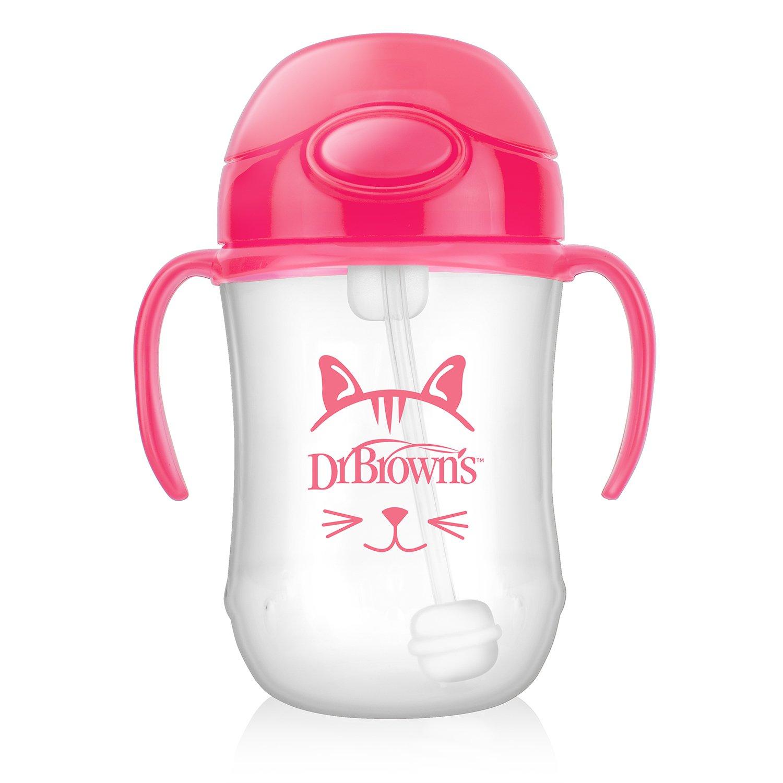 Чашка-непроливайка 270 мл с трубочкой и грузиком, розовая, 6+ месяцев