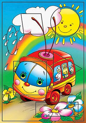 Развивающий пазл - Троллейбус, с рамкойПазлы для малышей<br>Развивающий пазл - Троллейбус, с рамкой<br>