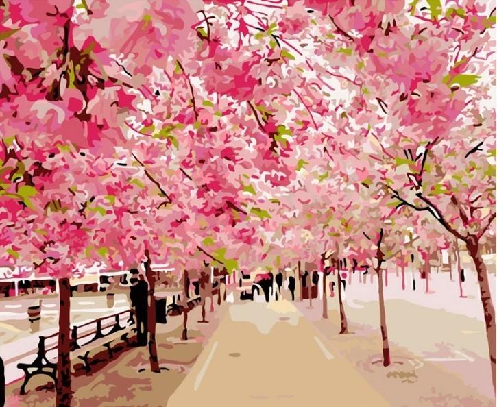 Раскраски по номерам - Розовая аллея, 40 х 50 см.Раскраски по номерам Schipper<br>Раскраски по номерам - Розовая аллея, 40 х 50 см.<br>