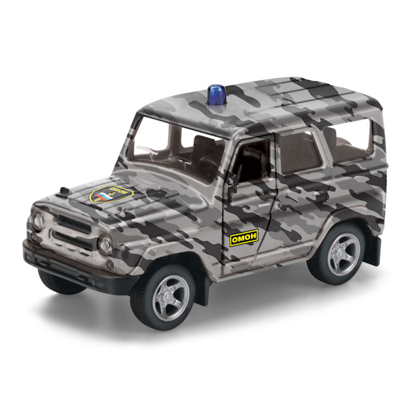 Машинка металлическая инерционная Уаз Hunter Омон, открываются двериПолицейские машины<br>Машинка металлическая инерционная Уаз Hunter Омон, открываются двери<br>