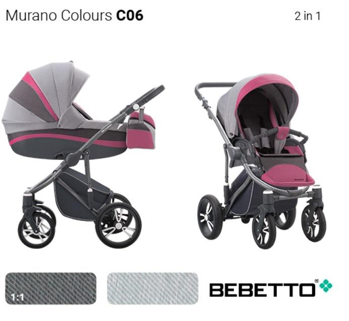 Детская коляска Bebetto Murano Colours  2 в 1 шасси матовый графит/GRM C06Детские коляски 2 в 1<br>Детская коляска Bebetto Murano Colours  2 в 1 шасси матовый графит/GRM C06<br>