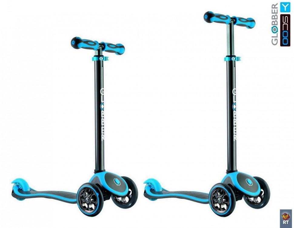 Купить Самокат RT Globber My free Titanium neon blue с блокировкой колес