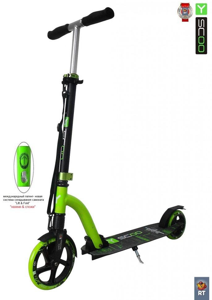 Купить Самокат RT SLICKER 205 с амортизатором green, Y-Scoo