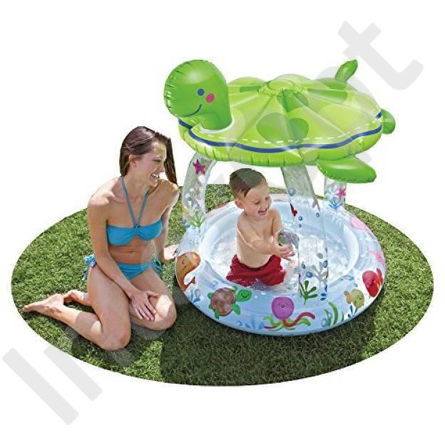 Бассейн с навесом для малышей «Морская черепашка»Детские надувные бассейны<br>Бассейн с навесом для малышей «Морская черепашка»<br>