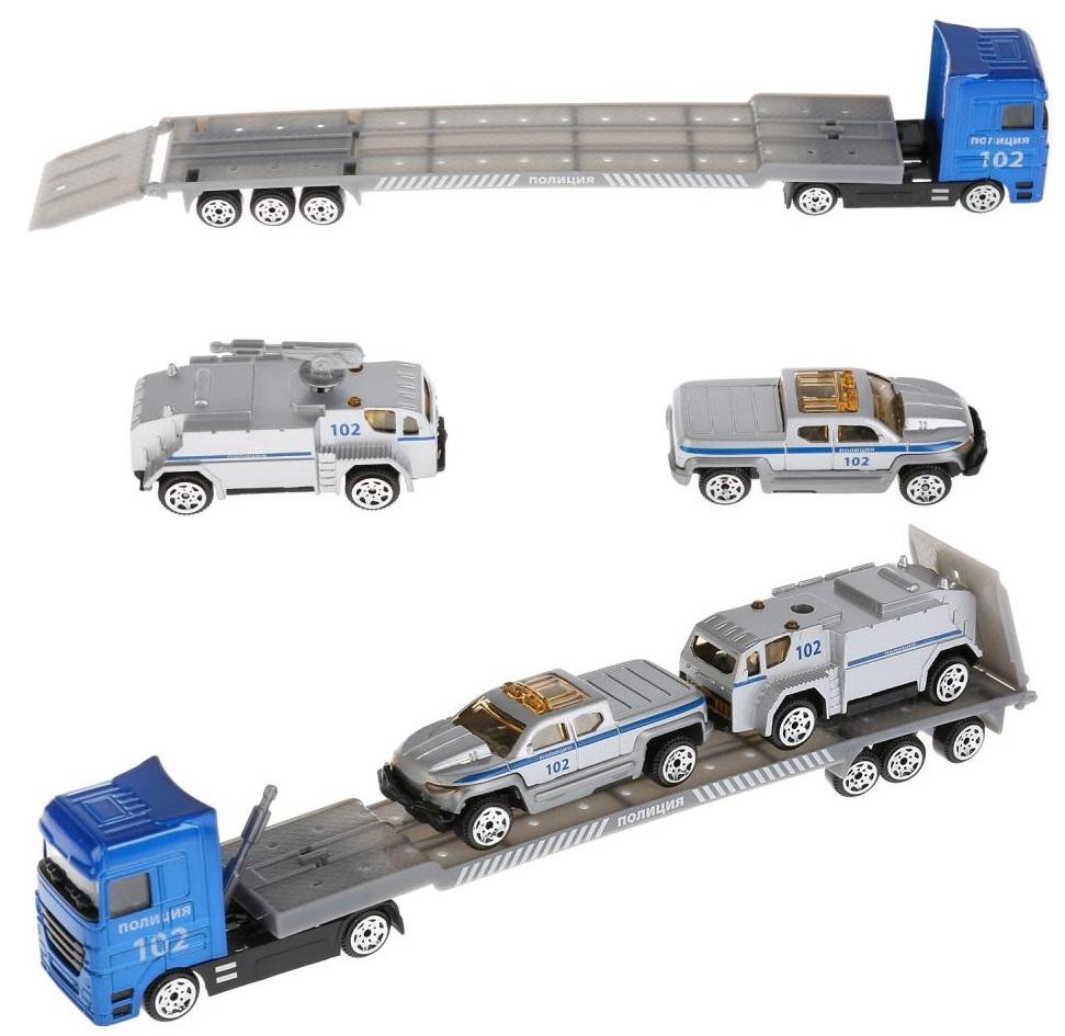 Автовоз Полиция с машинками и подвижными элементами, 24 см, металл Технопарк