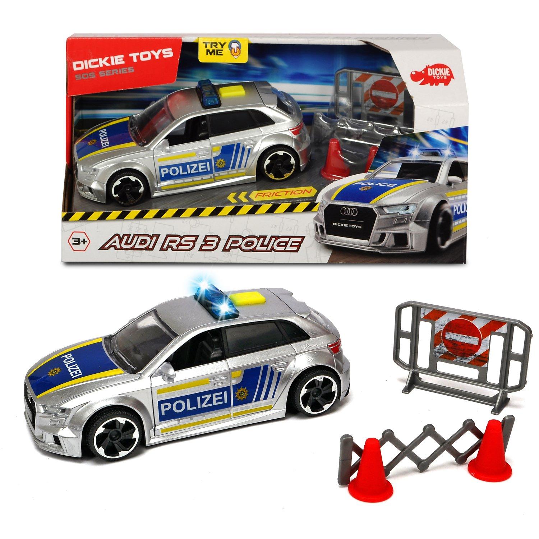 Фрикционная полицейская машинка - Audi RS3, 15 см, масштаб 1:32 с аксессуарами, свет, звук, фото