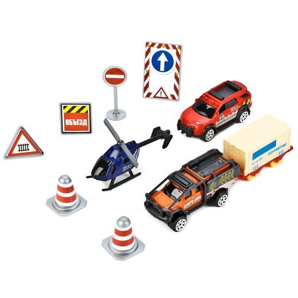 Набор металлических машинок - 7,5 см. - с дорожными знакамиНаборы машинок<br>Набор металлических машинок - 7,5 см. - с дорожными знаками<br>