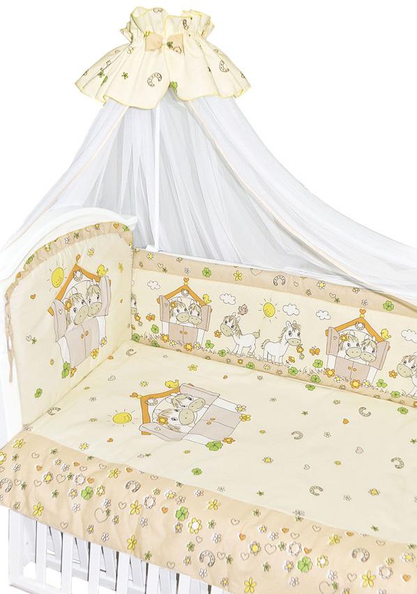 Комплект в кроватку – Лошадки, 7 предметов, бежевыйДетское постельное белье<br>Комплект в кроватку – Лошадки, 7 предметов, бежевый<br>