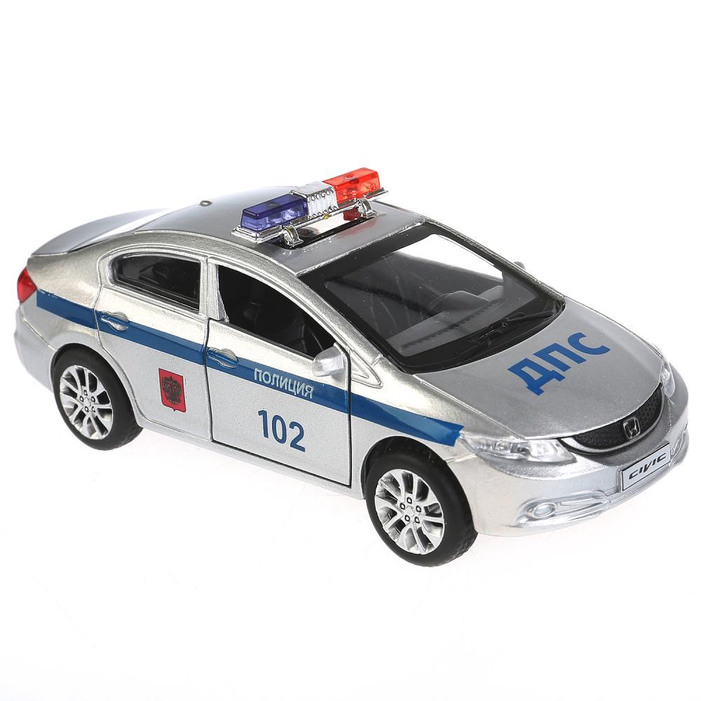 Купить Машина металлическая Honda Civic Полиция 12 см, открываются двери, инерционная, Технопарк