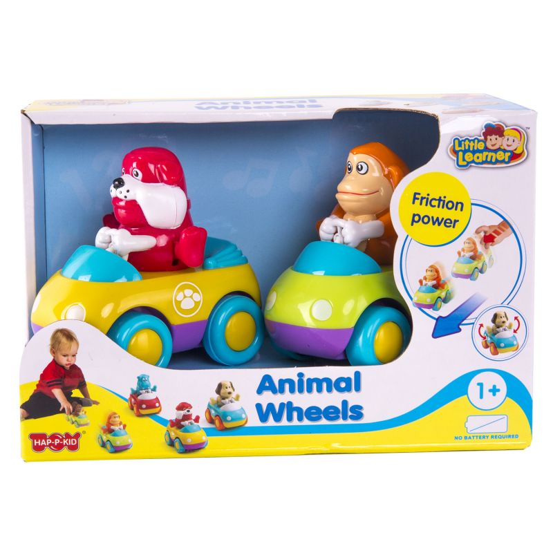Купить Набор из 2 зверушек на колесиках: обезьянка и бульдог, Hap-p-kid